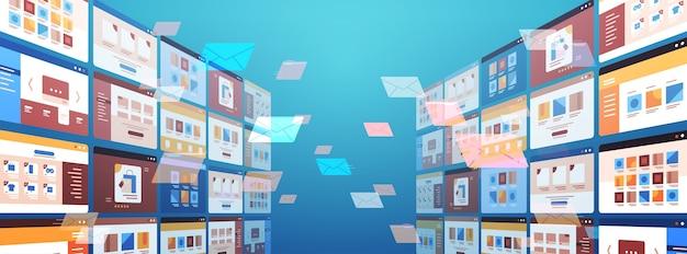 폴더 메일 봉투 클라우드 인터넷 데이터 파일 아이콘 문서 브라우저 창 운영 체제 사용자 인터페이스 수평 벡터 일러스트 레이션