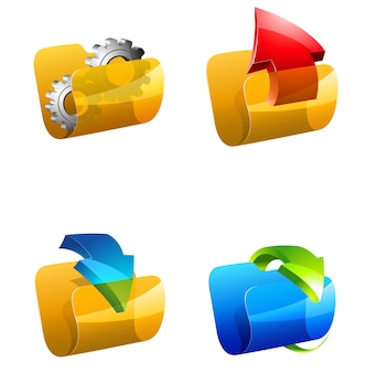 Folders vector icons. downloads, updates, settings and attachments