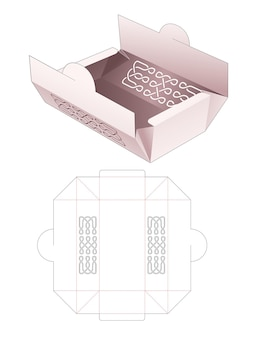 Foldimg bakery box with stenciled line die cut template
