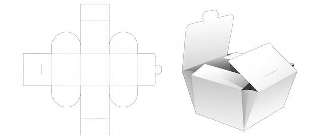 Folding bakery packaging die cut template