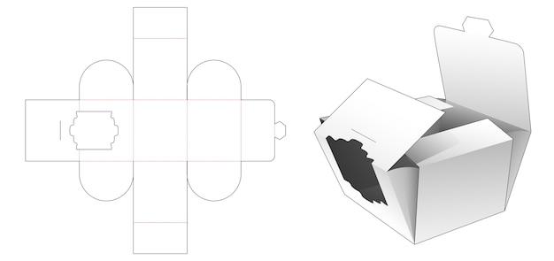 Folding bakery packaging with luxury window die cut template