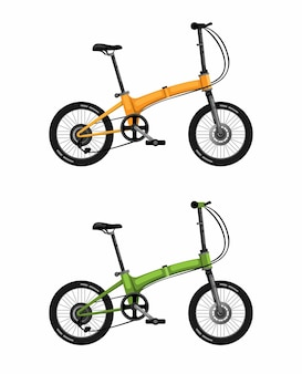Folding bike, citizen bicycle in two color realistic on white background