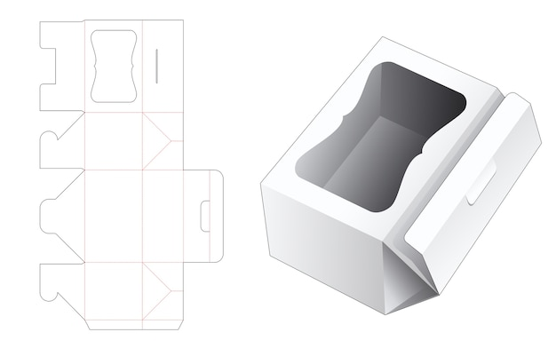 Folding box packaging with luxury window die cut template