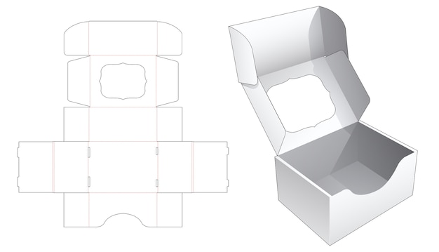 Folding box with flip top which has window die cut template