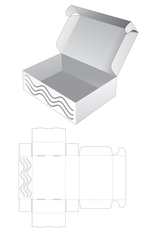 숨겨진 스텐실 웨이브 다이 컷 템플릿이있는 접이식 상자