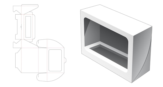 ウィンドウダイカットテンプレート付き折りたたみ化粧品ロングボックス