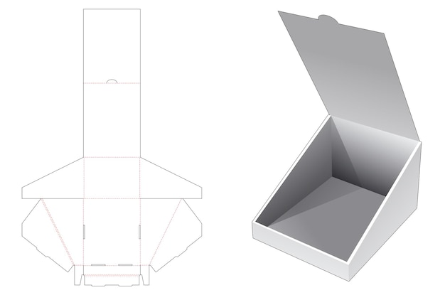 Folding flip slope box die cut template