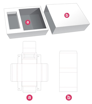 Folding insert tray with cover die cut template