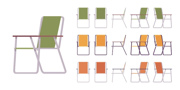 Folding metal chair set