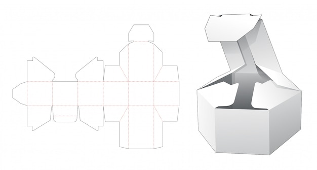 Folding short hexagonal box die cut template