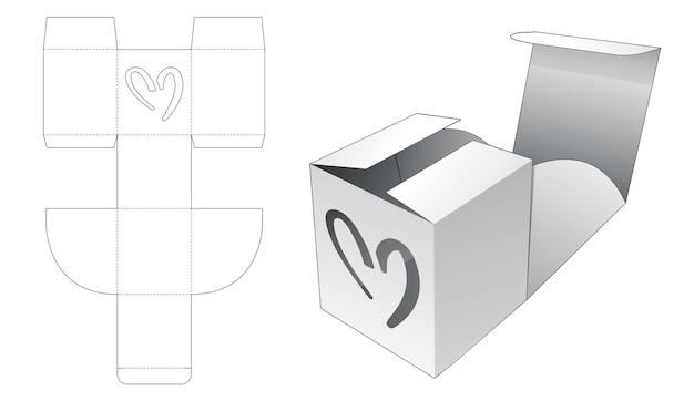 심장 모양의 창 다이 컷 템플릿으로 접는 사각형 상자