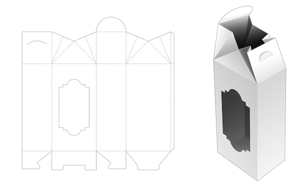 Folding tall house shaped box with window die cut template