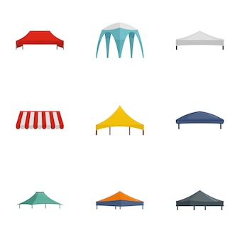 Folding tent icon set, flat style