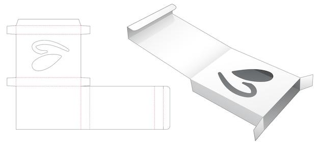 숨겨진 심장 모양의 창 다이 컷 템플릿으로 접는 주석 상자
