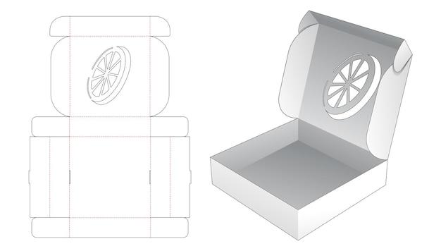 오렌지 만화 모양의 창 다이 컷 템플릿 접는 주석 상자