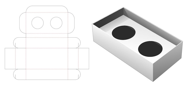 Folding two cup of coffee container die cut template