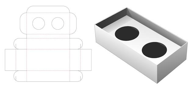 두 컵의 커피 컨테이너 다이 컷 템플릿 접는 프리미엄 벡터