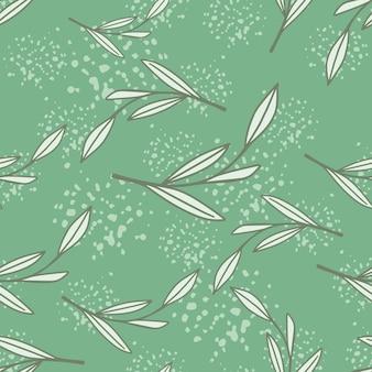 Листва абстрактный бесшовный паттерн с серым случайным контуром ветви листьев печати