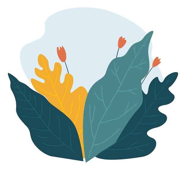 春または夏のベクトルの葉と花