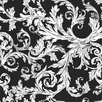 단풍과 식물 빈티지 장식품 완벽 한 패턴, 흑백 스케치 개요. 배경 또는 장식용 잎으로 인쇄합니다. houseplants 부드러운 허브 잎, 평면 스타일의 트렌디한 식물학 벡터