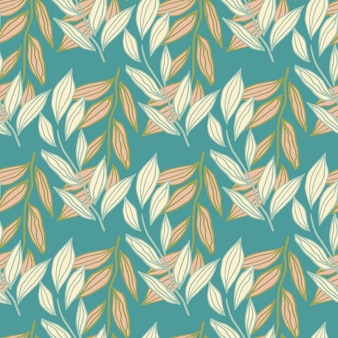 단풍 가지 추상 실루엣 완벽 한 패턴. 파란색 청록색 배경에 파스텔 빛과 오렌지 식물 요소. 프리미엄 벡터