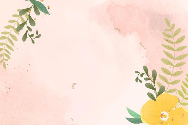 Cornice del fogliame su sfondo acquerello