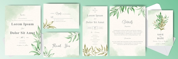 Foliage and greenery watercolor wedding invitation cards bundle set template