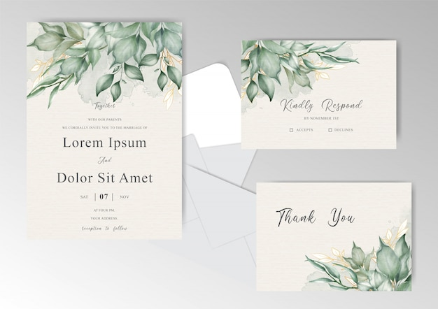Foliage and greenery watercolor wedding invitation cards set template