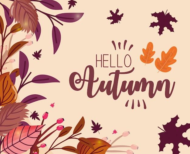 Foliage hello autumn greeting card