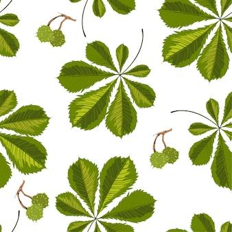 カスタネアの葉、栗の緑の葉のシームレスなパターン