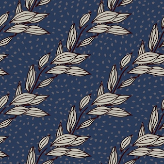 Foliage outline abstract seamless pattern. purple contoured botanic ornament on navy blue background with dots. great for wrapping paper, textile, fabric print and wallpaper.  illustration.