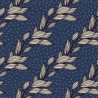 葉の概要の抽象的なシームレスパターン。ドットとネイビーブルーの背景に紫の輪郭を描かれた植物飾り。包装紙、テキスタイル、ファブリックプリント、壁紙に最適です。図。