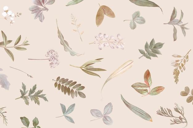 ベージュの背景の葉のパターン