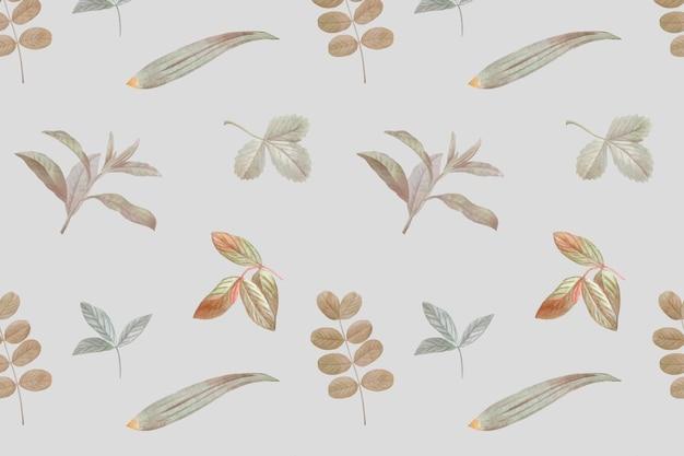 Бесшовный узор листвы на сером фоне