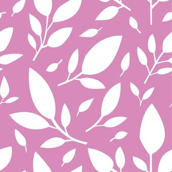 ピンク、柔らかいプリントまたはグリーティングカードの背景に葉のシームレスなパターン。ハーブと花の装飾。植物の自然の葉が咲く繰り返し可能な装飾品。フラットスタイルのベクトル