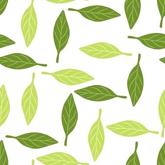 緑のランダムな葉の抽象的な飾りと葉のシームレスなパターン。孤立した緑の抽象的なスタイルの背景。生地のデザイン、テキスタイルプリント、ラッピング、カバーに最適です。ベクトルイラスト。