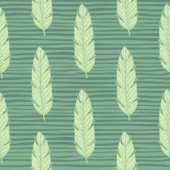 Бесшовный узор листвы с орнаментом силуэты светло-зеленых листьев. зеленый полосатый узор