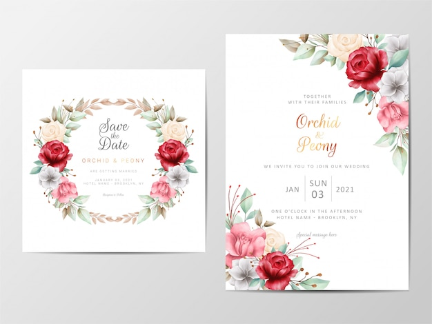 Foliage wedding invitation cards template with watercolor romantic flowers