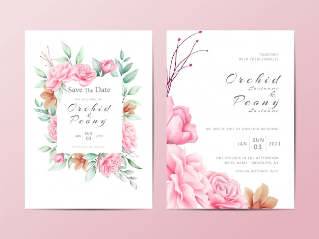 Foliage wedding invitation template set of watercolor roses flowers