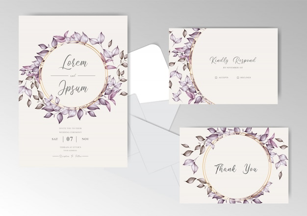 Foliage wreath watercolor wedding invitation cards set template