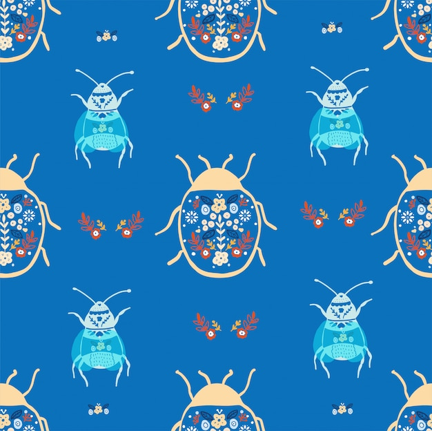 Folk art bugs seamless pattern
