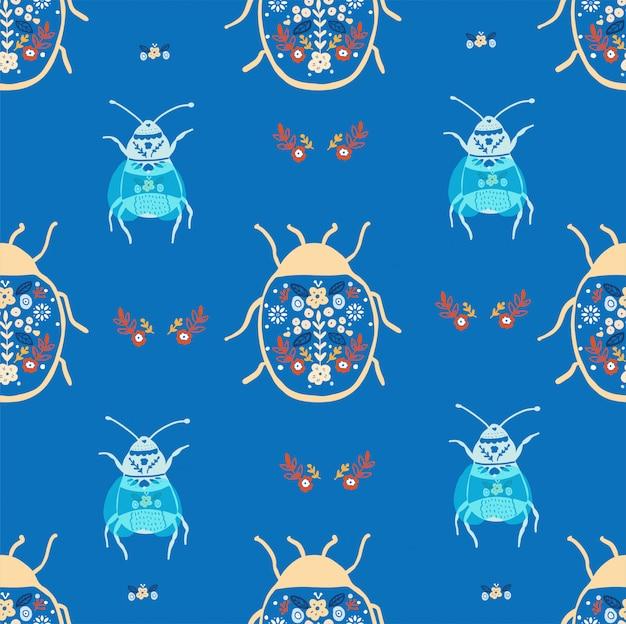 Folk art bugs seamless pattern