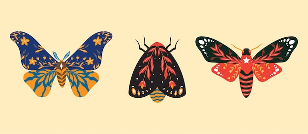 Folk art insect illustration pack