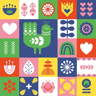 Folk art pattern with bird and decorative elements.