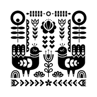 Folk art pattern with birds.