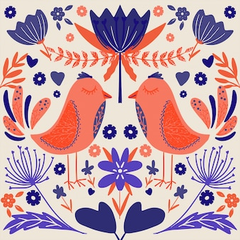 Folk art scandinavian colourful pattern with floral and birds