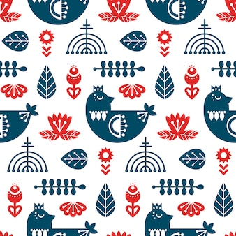 Folk art seamless pattern with bird and floral elements.