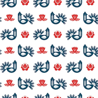 Folk art seamless pattern with peacock and floral elements.
