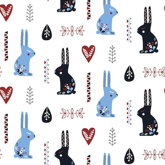 Folk art seamless pattern with rabbit .