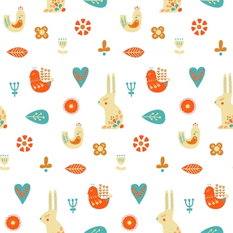 Folk art seamless pattern with rabbit